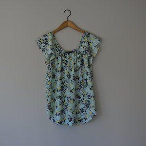 BANANA REPUBLIC Mint Flutter Sleeve Floral Top